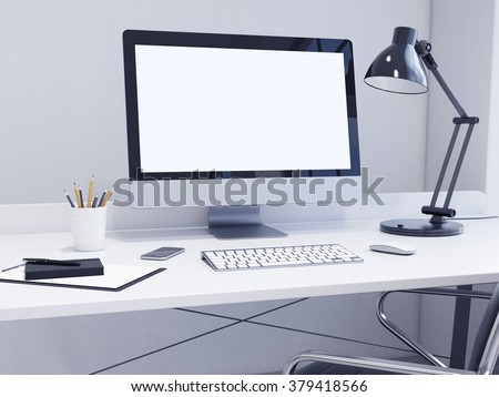 Workplace In The Corner Blank Computer Keyboard Mouse Smartphone Lamp