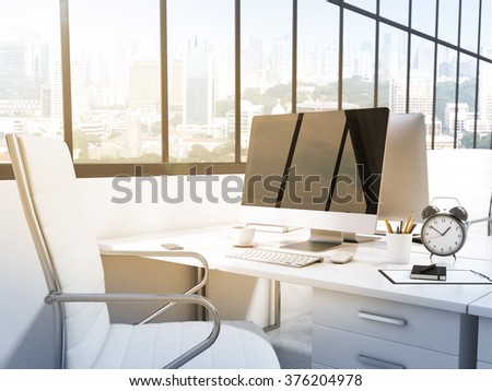 Workplace in the office, computer, keyboard, mouse, lamp, pencils, coffee on the table, white chair, window behind to the left. City view, side view. Filter. Concept of work. 3D rendering