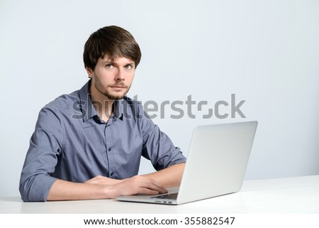 Workplace man with notebook