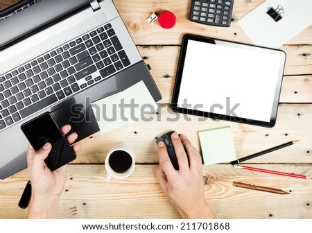 Workplace, Man working on the laptop - stock photo