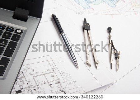 Scheme Compasses Rulers Pencil Closeup Photo Stock Photo