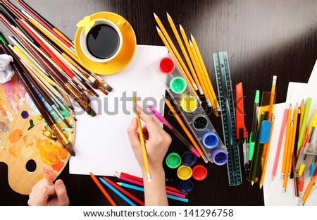 Workplace of artist close-up - stock photo