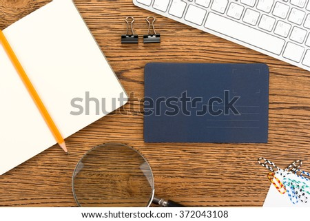 Workplace of businessman with office accessories. Top view. - stock photo
