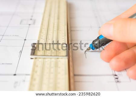 Workplace of engineer, tools for sketching and a drawings. Angle view, in soft tone - stock photo
