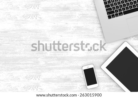workplace, top view - stock photo