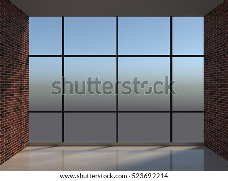 Workplace with large window, 3d illustration