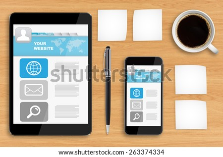Workplace with tablet pc and mobile phone - stock photo