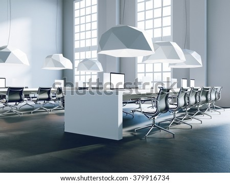 Workplaces in a bright modern loft open space. A concept of a high quality consulting services. 3d render