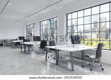 Workplaces in a bright modern loft open space office. Tables are equipped with modern computers; book shelves. New York panoramic view. A concept of a high quality consulting services. 3D rendering. - stock photo