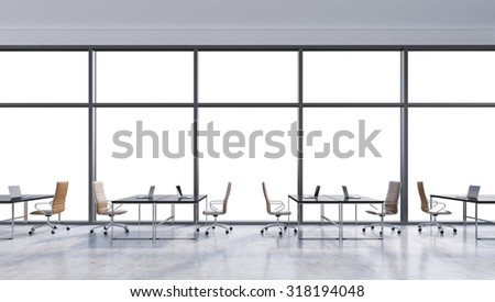 Workplaces in a modern panoramic office, copy space in the windows. Open space. Black tables and brown leather chairs. A concept of financial consulting services. 3D rendering.
