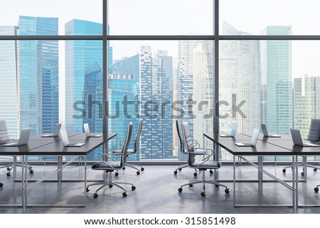 Workplaces in a modern panoramic office, Singapore city view from the windows. Open space. Black tables and black leather chairs. A concept of financial consulting services. 3D rendering. - stock photo