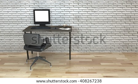 Workroom Loft style and Simple 3d rendering Non brand,sketches.All completely new design   - stock photo