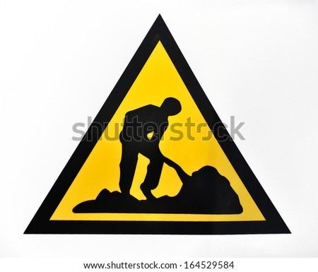 works signal and construction site warning background - stock photo
