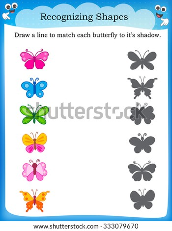 Worksheet recognizing shapes | Draw a line to match butterflies and their correct shadow