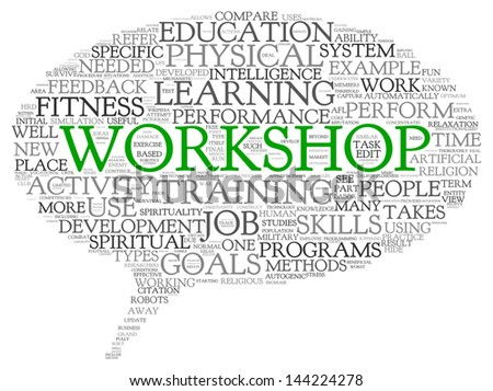 Workshop and learning related words concept in word tag cloud - stock photo