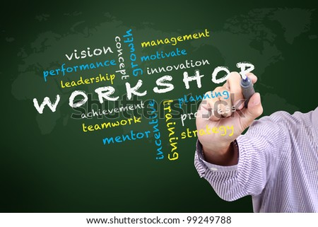Workshop concept with other related words. written on white board - stock photo