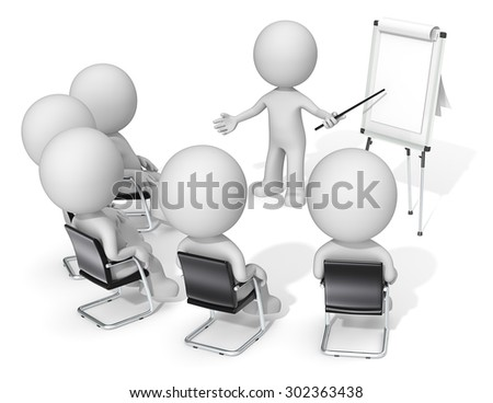 Workshop. Dude the Business people X 6 at meeting. Looking at blank flip chart. Copy space. - stock photo