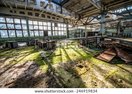 workshop in Jupiter Factory in Pripyat ghost town, Chernobyl Nuclear Power Plant Zone of Alienation, Ukraine - stock photo