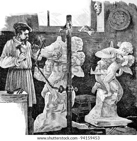 "Workshop of the sculptor. Engraving by Rashevsky. Published in magazine ""Niva"", publishing house A.F. Marx, St. Petersburg, Russia, 1893"