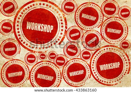 workshop, red stamp on a grunge paper texture - stock photo