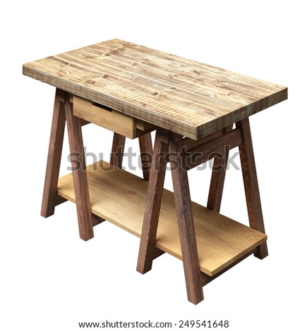 Workshop table with drawer and shelf - stock photo