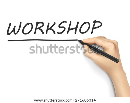 workshop word written by hand on a transparent board - stock photo
