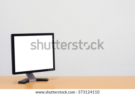 Workspace background, Blank white computer screen, monitor screen on wooden desk, Computer on table