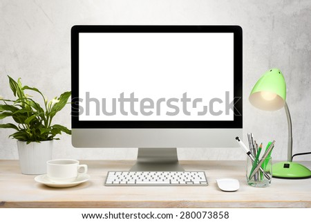 Workspace background with desktop pc and office accessories on table - stock photo