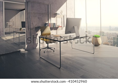 Workspace in sunlit office interior with mirror, wooden floor and concrete wall. 3D Rendering - stock photo