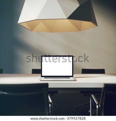 Workspace mockup. 3d render - stock photo