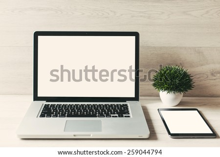 Workspace on wood table - stock photo