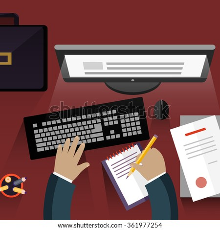Workspace secretary design flat. Assistance and office, receptionist, secretary desk, personal assistant, business work, computer desk, desktop job illustration. Raster version - stock photo