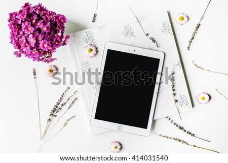 workspace. tablet, lavender, wedding photo album, bouquet of flowers on white background. top view, flat lay - stock photo
