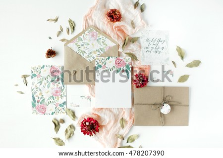 Wedding Invitation Cards Craft Envelopes Pink And Red Roses Green Leaves