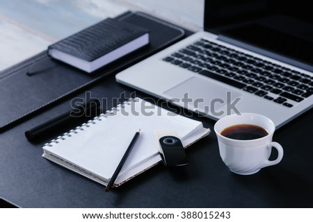 Workspace work desktop black and white business stylish modern space wood background top view