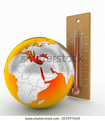 world and Thermometer concept global warming theme - stock photo
