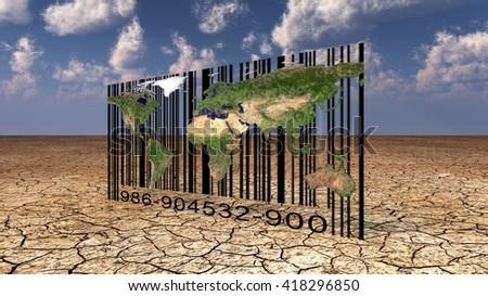 World Bar Code 3D Render - stock photo