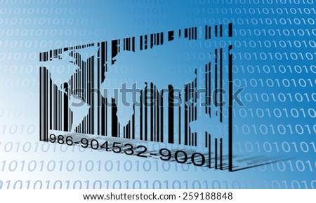 World Binary Barcode - stock photo