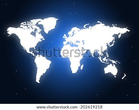 World Blue Showing Globalisation Earth And Globalise - stock photo