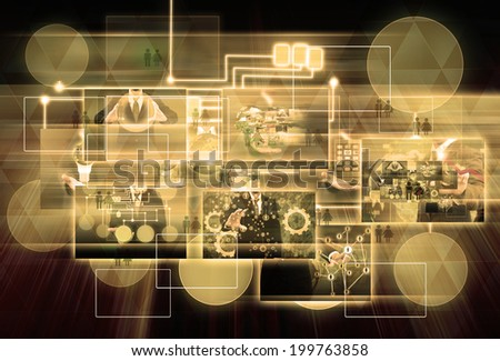 world business and Technology for background - stock photo