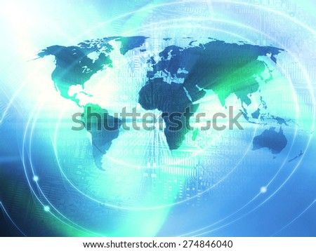 World Business Background in the blue color - stock photo