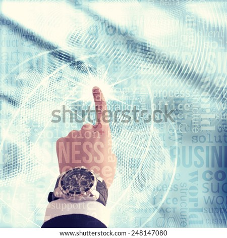 World business concept. Blue background - stock photo