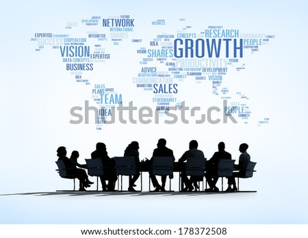 World Business Meeting with Growth Concept - stock photo