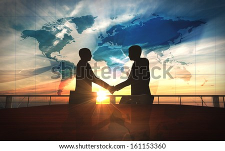 World business  shake hand in office silhouettes rendered with computer graphic 3d - stock photo