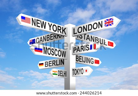 World capital cities and flags signpost against blue sky  - stock photo