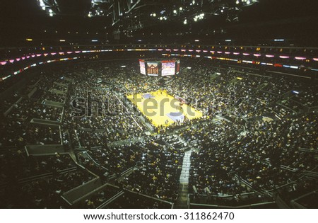 World Championship Los Angeles Lakers, NBA Basketball Game, Staples Center, Los Angeles, CA - stock photo