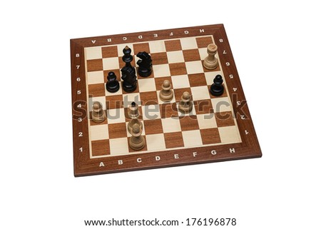 World Chess Champions - Emanuel Lasker - Isolated. End position of the 19th game Emanuel Lasker - Wilhelm Steinitz, 1894. Lasker became the second Undisputed World Chess Champion. - stock photo