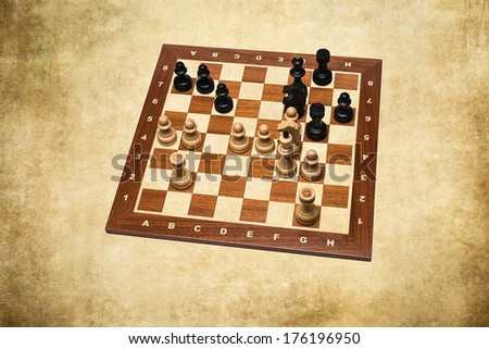 World Chess Champions - Max Euwe - Yellow texture. End position of the 30th game Euwe - Alekhine, 1935. Euwe became the fifth Undisputed World Chess Champion. - stock photo