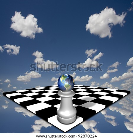 World chess pawn on chessboard