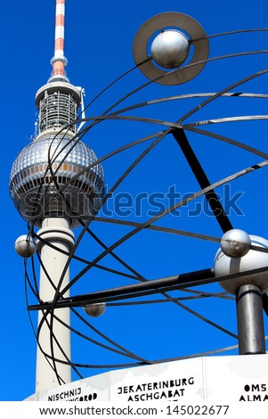 World clock and television tower at Alexanderplatz in Berlin in Detail
